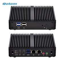 Qotom Quad core Mini PC with Celeron J3160 processor onboard, up to 2.24 GHz, Fanless Mini PC Dual NIC(China)