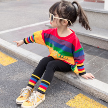 Baby girl clothes new cotton warm two-piece rainbow stripes casual sports clothes baby girl clothes letter print baby suit cheap NoEnName_Null Polyester Woolen REGULAR O-Neck Baby Girls Cotton polyester Fits true to size take your normal size Sets