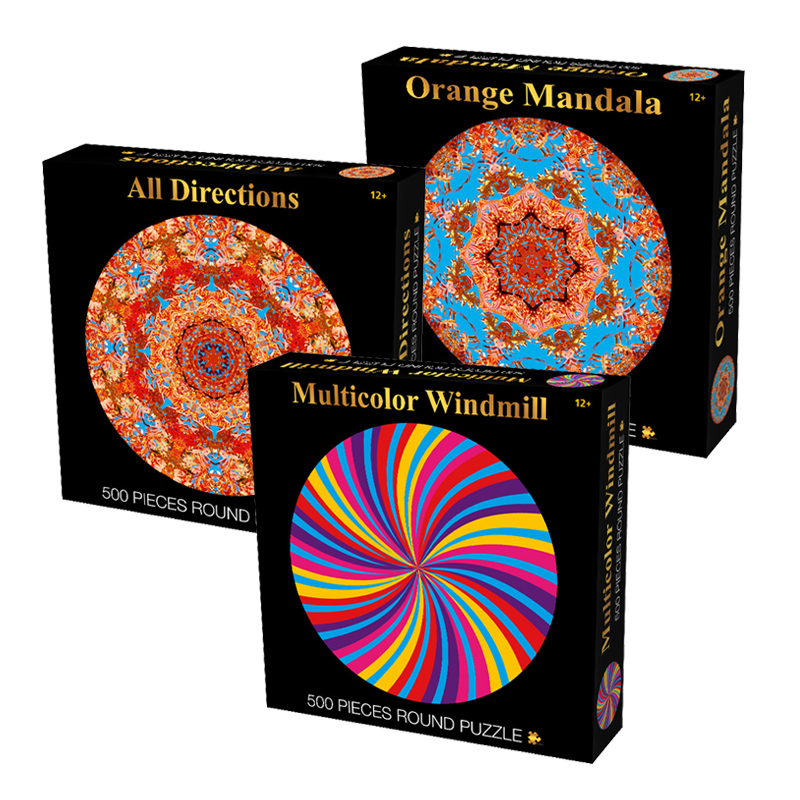 Jigsaw Picture Puzzles 500 Pieces Round Mandala Puzzle Adult Stress  Release Toye Ducational Toys For Children Kids Games Toys G