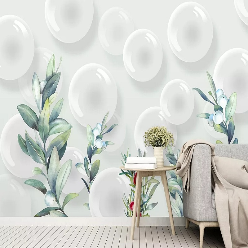 Custom Large Mural 3D Wallpaper Modern Creative 3D Expansion Space White Sphere Bubbles Room TV Back Wall Decor Deep 5D Embossed