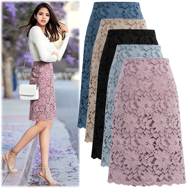 Women Plus Size High Waist Lace A Line Skirt Ladies 2020 Summer Solid Black Knee Length Elegant Pencil Office Work Casual Skirt image