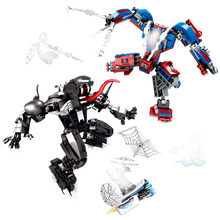 цена 671Pcs Marvel Avengers Super Heroes Spiderman Spider Man Vs Venom Mech Building Blocks Brick Toy онлайн в 2017 году
