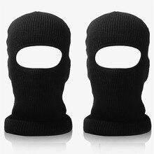 Unisex inverno malha um buraco máscara de esqui balaclava beanies chapéu ciclismo capacete à prova de vento forro rosto cheio boné pescoço mais quente