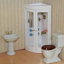 Dollhouse Simulation White Shower Room Model Decoration Dollhouse Model DIY Accessories House Mini Bathroom 1:12 Doll Furni D1V4