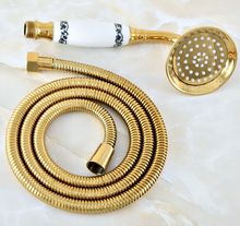 1.5m Gold Color Brass Flexible Bathroom Hand Held Shower Hose and Telephone Style Hand Held Shower Head mhh041(China)