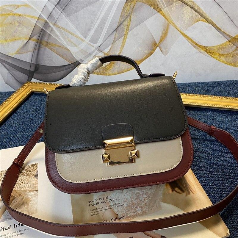 Кожаная сумка через плечо, маленькая квадратная сумка, широкий плечевой ремень, контрастный замок, через плечо, большая брендовая кожаная ж