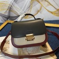 Leather shoulder bag, small square bag, wide shoulder belt, contrast lock, Crossbody, large brand leather women's bag