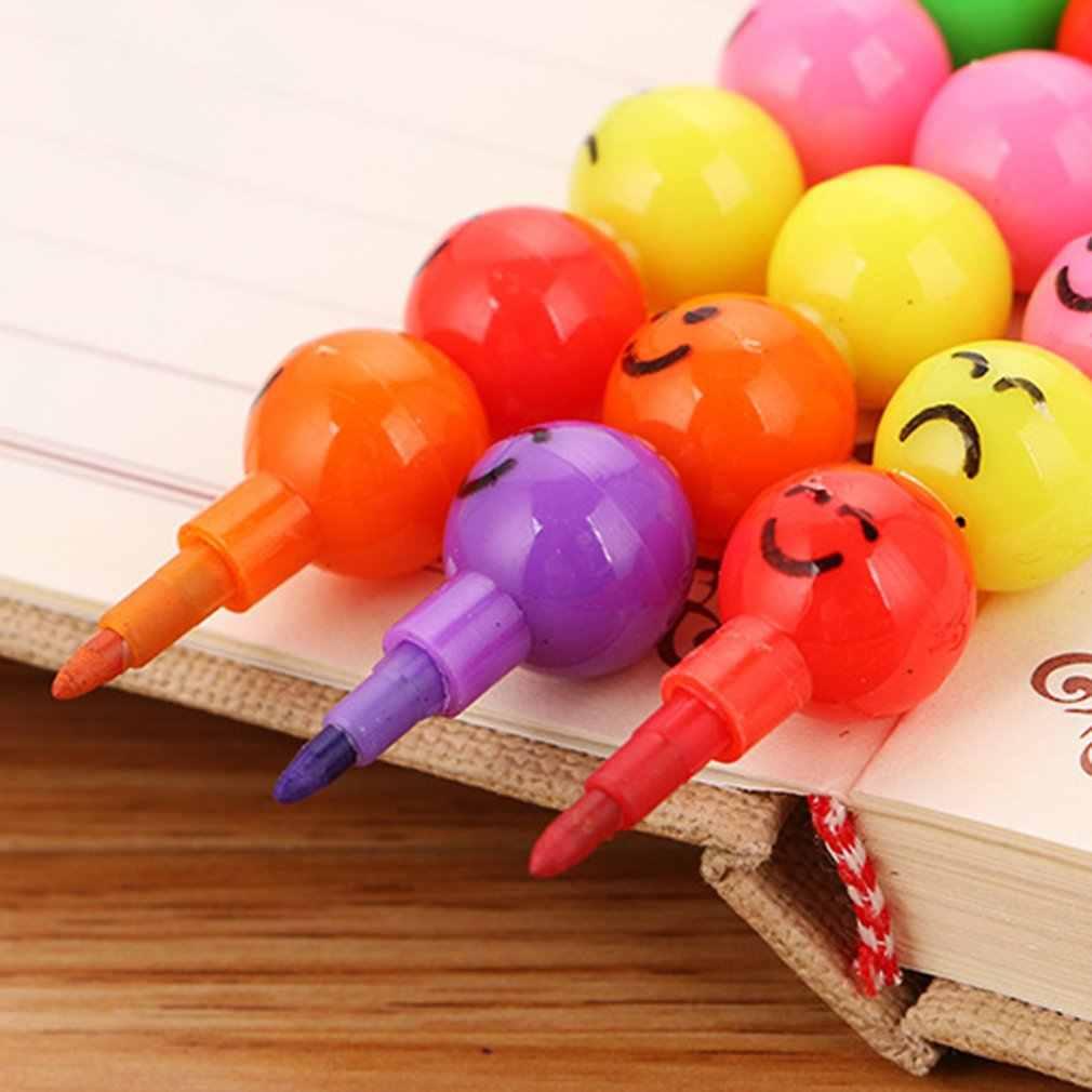 7 couleurs Crayons créatifs Haws enrobés de sucre dessin animé Smiley Graffiti stylo papeterie cadeaux pour enfants Crayon de cire Crayon 7 couleurs