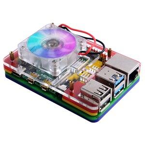 Image 3 - Raspberry Pi 4B / 3B / 3B+ Heat Sinks 52Pi ICE Tower Cooling Fan 40x40x10 V2.0 Black Super Heat Dissipation 7 Colours Light