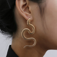 Europe Jewelry Personality Distorted Snake Geometric Female Exaggerated Embossed Stud Earrings