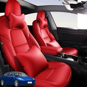 Image 1 - Mode Auto Speciale Lederen Bekleding Voor Tesla Model 3 2019 2020 Auto Decoratie Interieur Accessoires Protector Kussen 1 Set