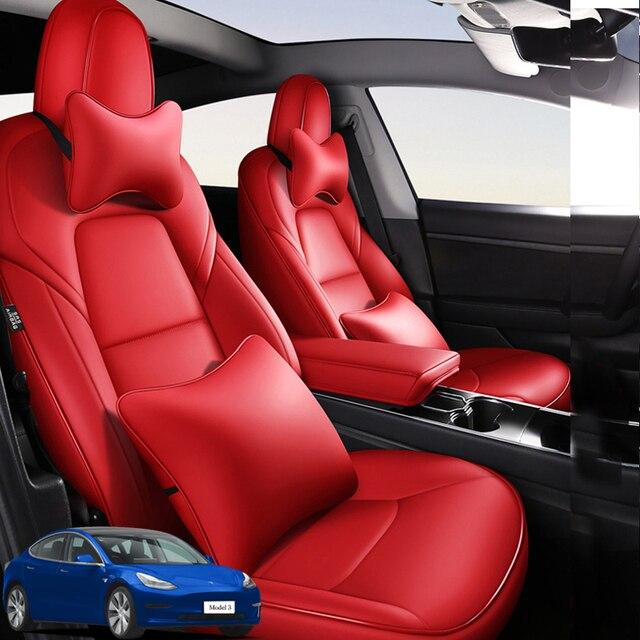 Mode Auto Speciale Lederen Bekleding Voor Tesla Model 3 2019 2020 Auto Decoratie Interieur Accessoires Protector Kussen 1 Set