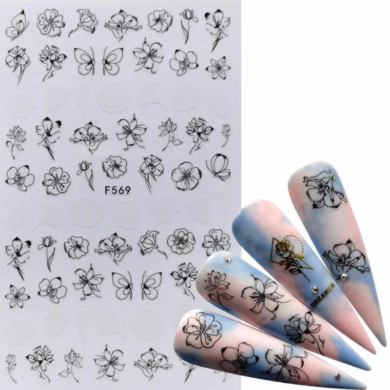 1 Pc Della Miscela Verde Foglie Autoadesivi Del Chiodo Del Fiore di Farfalla Animale 3D Adesivo Cursori Involucri Consigli di Fascino Manicure di Arte Decorazioni