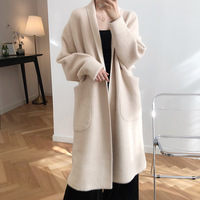 HLHPYHB Women Imitation Mink Cashmere Knit Long Cardigan Femal Thicken Knitwear Sweater Robe Loose Outwear Winter Batwing Trench