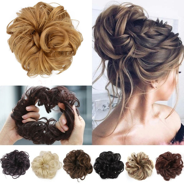 1PC Women's Fashion Curly Wave Synthetic Hair Bun Hair Accessories Hair Elastic Scrunchie Hair Rope 40 Colors Headwear