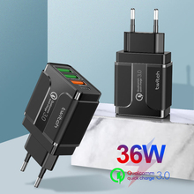 36W Multi Quick Charger PD Type C USB Charger for Samsung iPhone Tablet QC 3.0 Fast Wall Charger US EU UK Plug Adapter