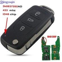 Jingyuqin 10p 434MHZ مع ID48 رقاقة 3B مفتاح بعيد لشركة فولكس فاجن فولكس فاجن جولف باسات تيجوان بولو جيتا بيتل هيلا 5K0837202AD