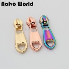 10-50pcs 5 colors 47*14mm rainbow color nylon head teeth zipper puller for chain bag clothing fashion and popular zipper pulls
