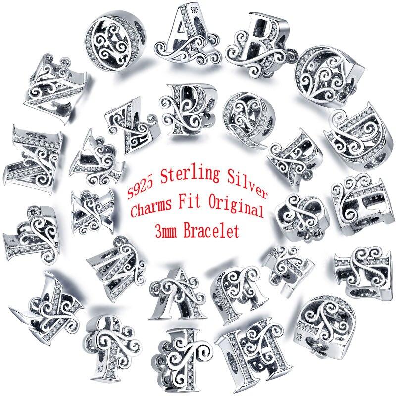 Codemonkey 100% 925 prata esterlina letra o alfabeto contas encantos caber charme pulseiras & pulseiras diy acessórios jóias C030-O