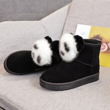 Winter snow boots women's boots, cute panda cotton shoes women, plus velvet warm student casual shoes, wild women's shoes(China)