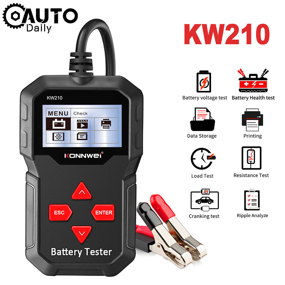 KONNWEI KW210 12V Car Battery Tester Auto Analyzer Vehicles Fault Detector Diagnostic Tool Support Multi-language Free Update
