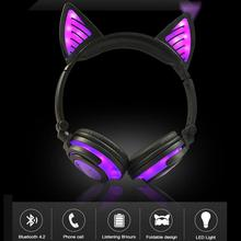 nx 8252 professional foldable wireless bluetooth headphone super stereo bass effect portable headset for dvd mp3 LED Light Cute Cat Portable Wireless Headphones Bluetooth Stereo Foldable Headset Audio Mp3 Adjustable Earphones