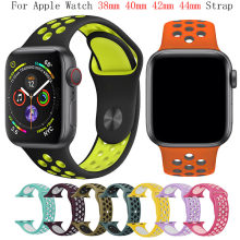 Banda de Silicone para apple watch strap 42mm 38 milímetros substituir pulseira iwatch 4/3/2 apple watch band 44mm 40 milímetros pulseira esporte pulseira(China)