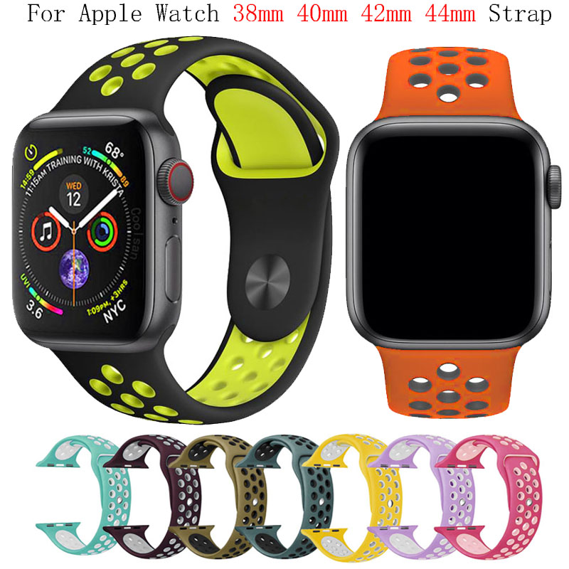 Band silikon untuk apple watch strap 42mm 38mm ganti gelang iwatch 4/3/2 apple watch band 44mm 40mm wristband sport gelang jam