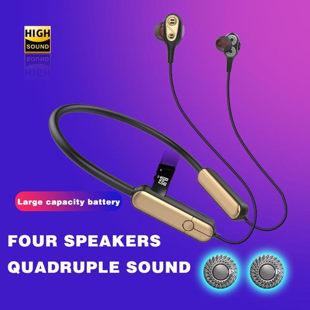 Sportowe słuchawki Bluetooth z pałąkiem na kark Bluetooth 5.0 podwójny sterownik Eerphone wsparcie karty SD Sweatproof słuchawki do biegania