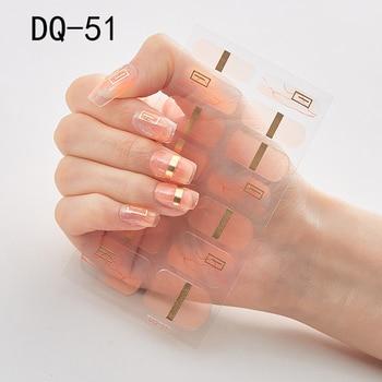 14pcs/sheet Glitter Gradient Color Nail Stickers Nail Wraps Full Cover Nail Polish Sticker DIY Self-Adhesive Nail Art Decoration 69