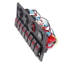 Wasserdichte 8 Gang Schalter Panel Rocker LED Spannung Display + 1A + 2,1 EIN Dual USB Ladegerät + Zigarette Leichter für Lkw Boot Auto Schiff RV