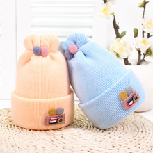 Button Rabbit Ear Knitted Baby Winter Hat For Kids Handmade Beanies Double Side Bonnet Warm Winter Hats Cute Baby Caps 2019 baby hats rabbit ears knitted kids caps 2018 autumn winter baby girls hats lovely infant toddlers beanies for baby photo props