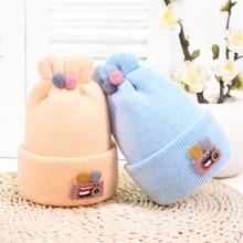 Button Rabbit Ear Knitted Baby Winter Hat For Kids Handmade Beanies Double Side Bonnet Warm Hats Cute Caps 2019