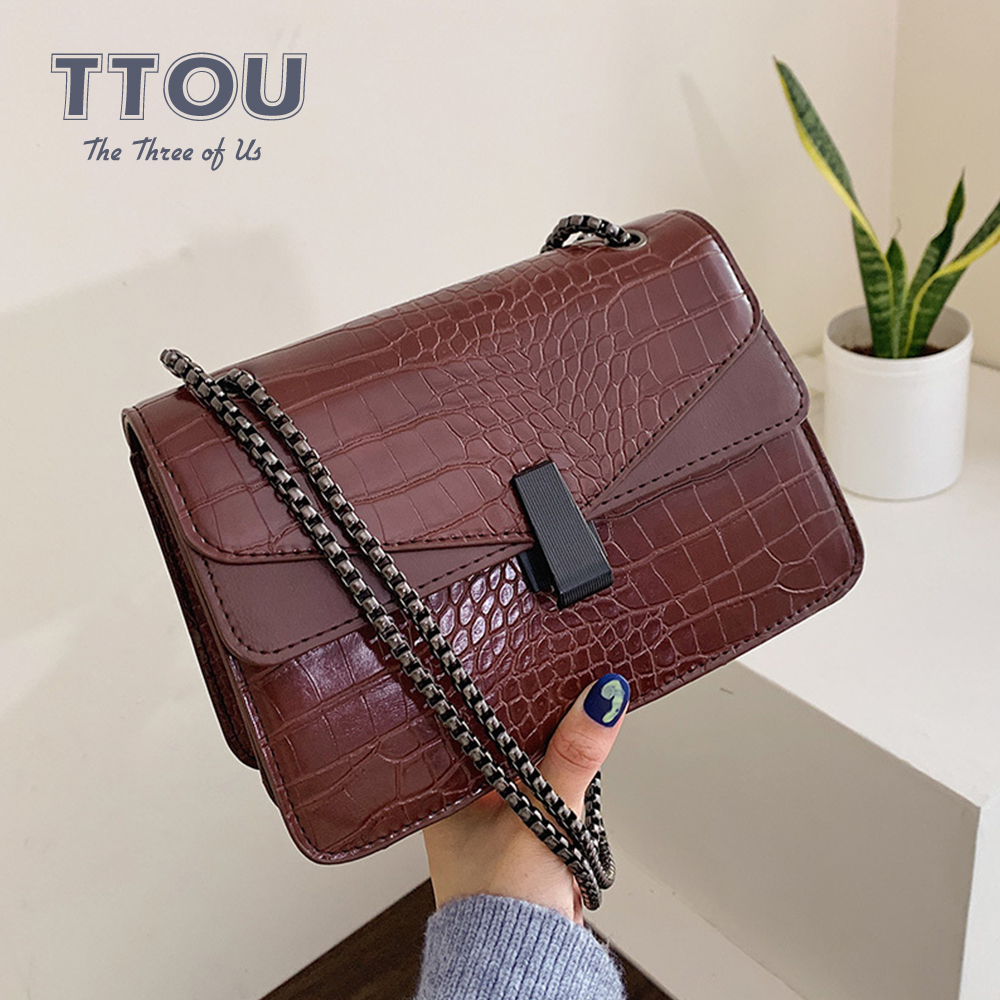 Fashion Crocodile Pattern Crossbody Bag With Chains High Quality Pu Leather Party Messenger Bag Office Lady Casual Shoulder Bag