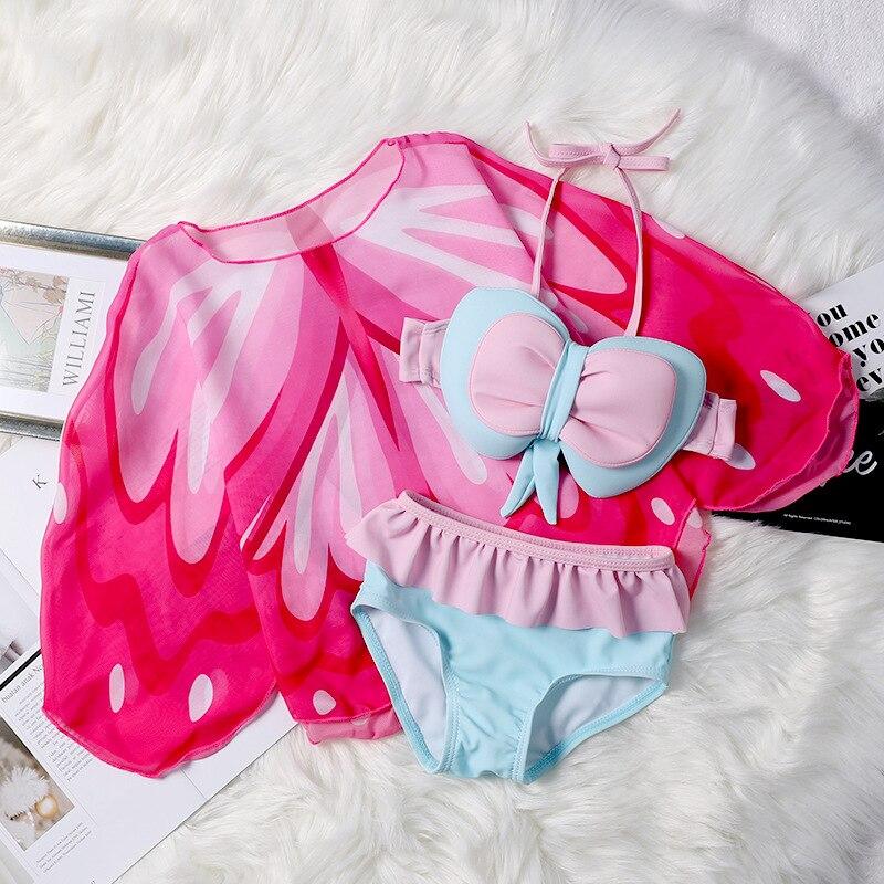 KID'S Swimwear Women's Three-piece Set Bikini Cute CHILDREN'S Swimsuit Split Type Cover-up Sun-resistant Girls Baby Swim Bathing