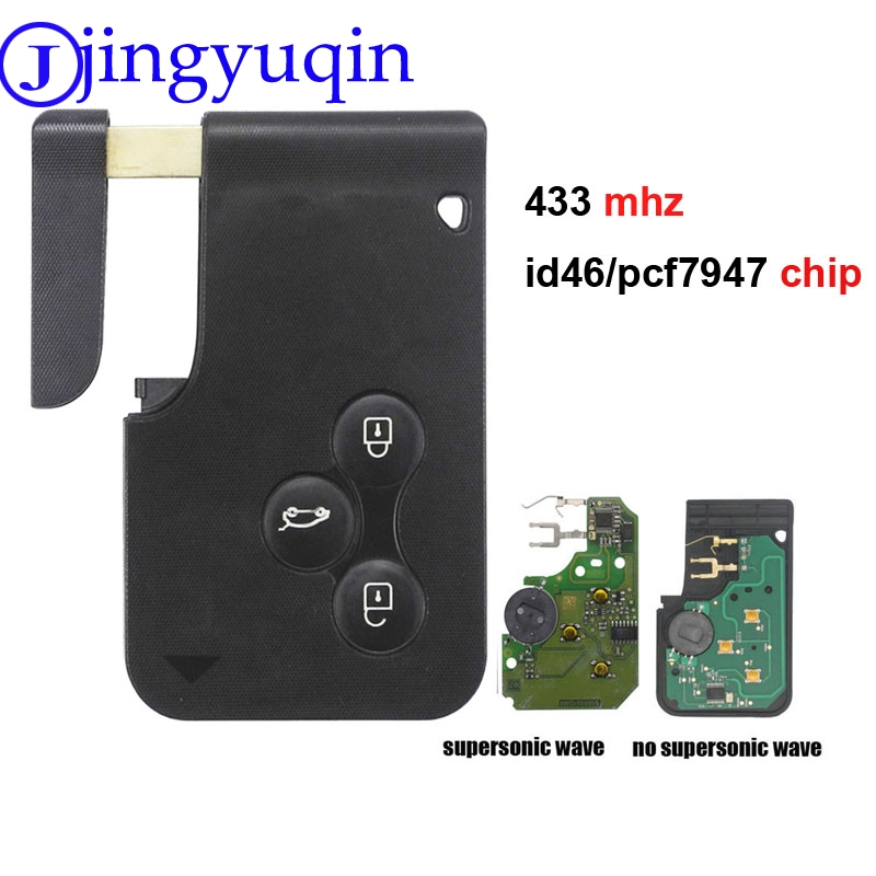 Jingyuqin 1P/3P/5P 3 Button 433Mhz ID46 PCF7947 Chip & Insert Small Blade Remote Smart Key Card For Renault Megane Scenic Grand
