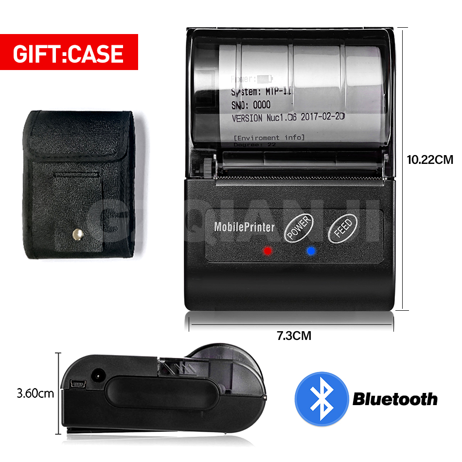 POS Bluetooth Printer Mobile Mini Portable Thermal Receipt Printer Handheld Pos Printers Bluetooth For Android IOS Double System