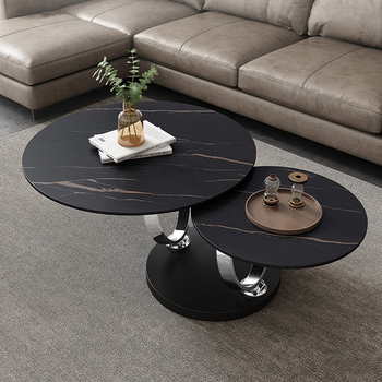 Italian Style Round Shape Gold Stainless Steel  Two-layer Coffee Side Table With White Marble Top 1