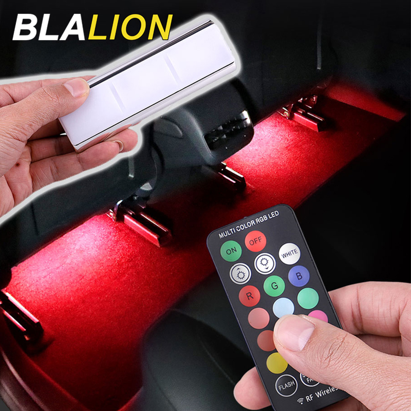 Car LED USB Foot Light Interior Ambient Lamp RGB Strip Light Wireless Remote Colorful Atmosphere Lamp 12V Auto Decorative Lights