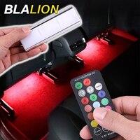 Tira de luces LED RGB para Interior de coche, lámpara de ambiente con USB, control remoto inalámbrico, colorido, 12V, decorativas