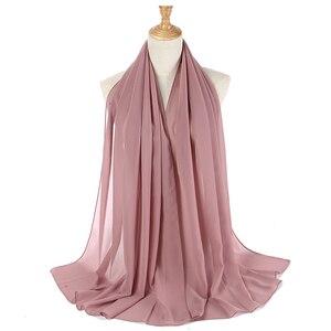 Image 4 - Women Plain Bubble Chiffon Hijab Scarf Head Wraps Solid Shawls Headband Soft Long Muslim Head Scarf Georgette Scarves Hijabs