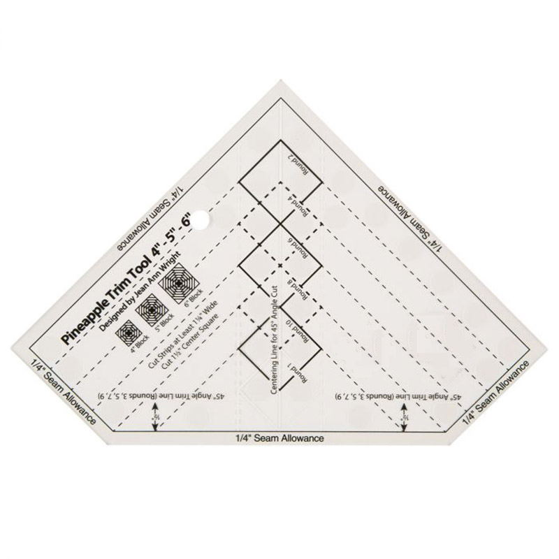 NON-SLIP The Pineapple Ruler NEW Quilting Ruler Pineapple Trim Tool 6- 8- Or 10-Inch Finished Blocks #MST-03B/MST-03S