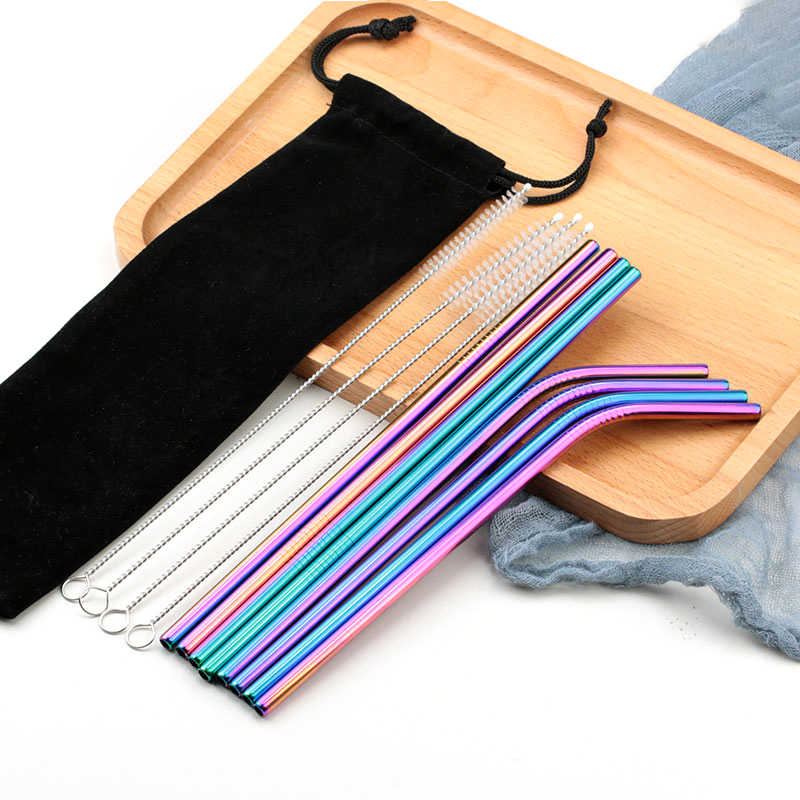 Drinking Straw Reusable Straws for Beer Fruit Juice Drink Stainless Steel Metal Straws + Brush+Bag Bar Accessories