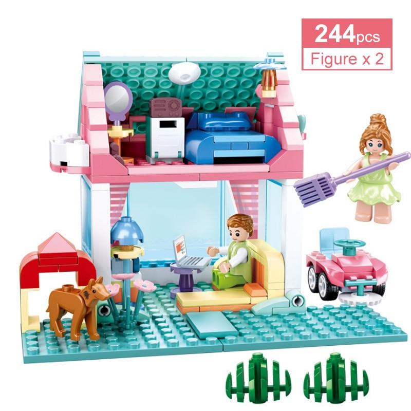 244 шт. Счастье Дневник серии для девочек трогательный хижина строительные блоки», «Princess», «Prince» розовый дом мечты блоки, Детские кубики, разв...