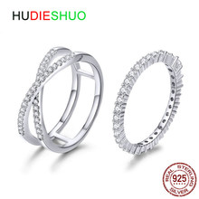 HUDIESHUO 100% 925 Sterling Silver Dazzling Clear CZ Finger Double Rings for Women Wedding Engagement Jewelry Girlfriend Gift(China)