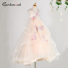 Dresses Flowers Princess-Dress First-Communion-Dress Tulle Birthday Girl Layers Elegant