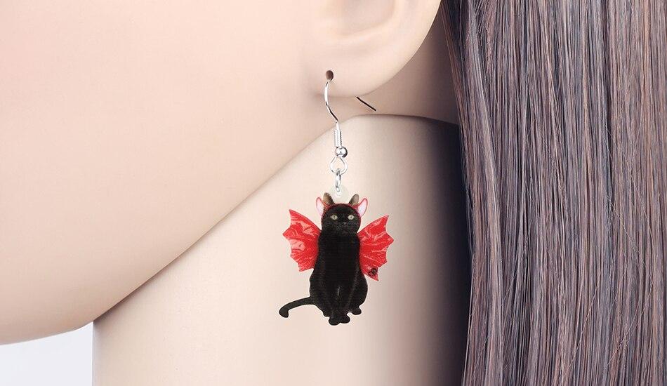 Acrylic Halloween Winged Bat Cat Earrings