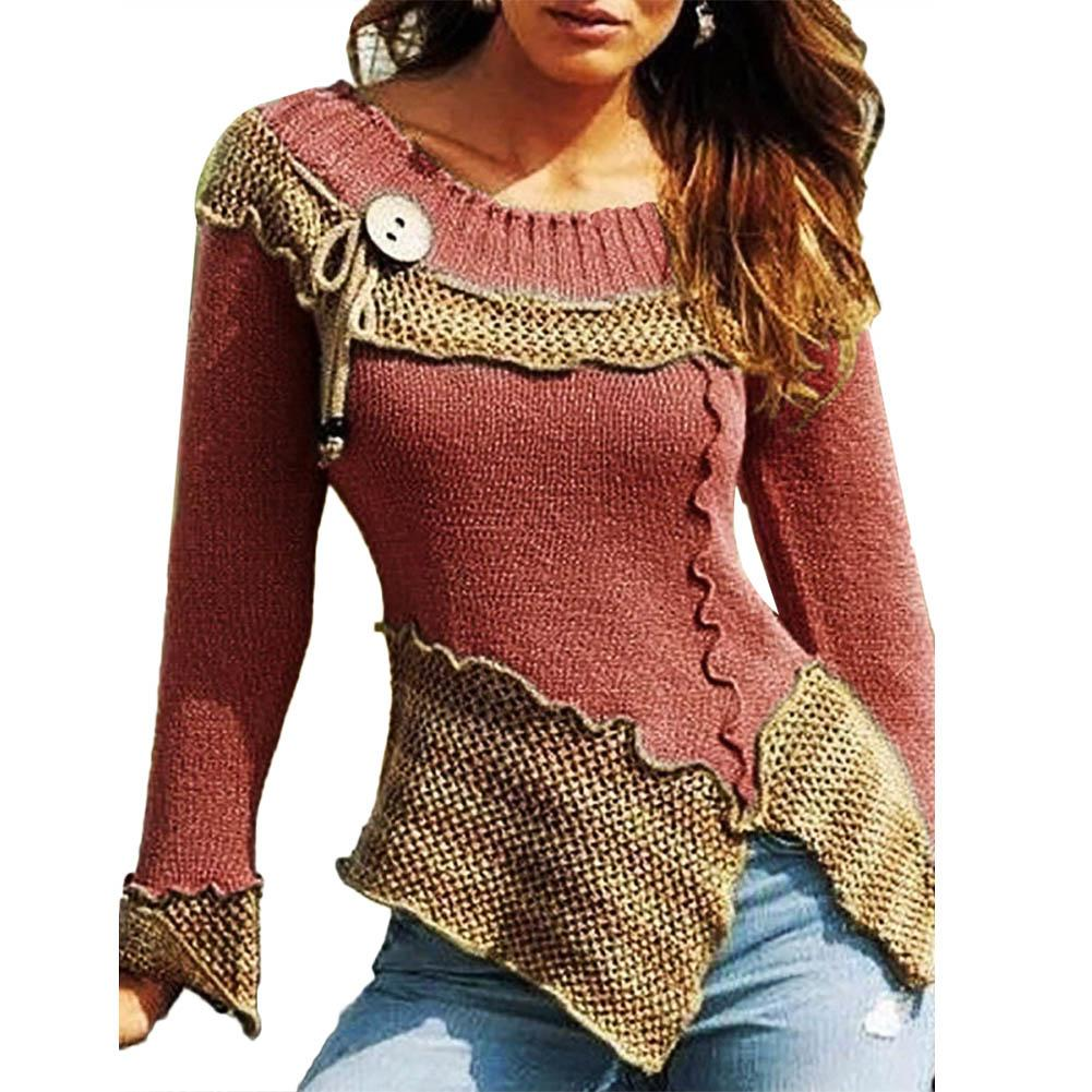 Chic Womens Blouse Autumn Color Block Lacework Side Slit Stitching Slim Knitted Sweater Womens Turtleneck