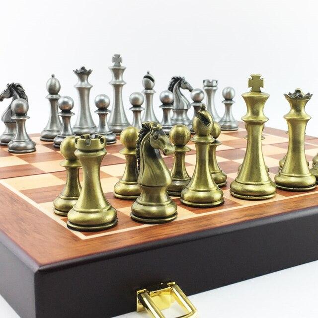 Ensemble d'échecs en métal, plateau pliant en bois, hauteur roi 67mm 4