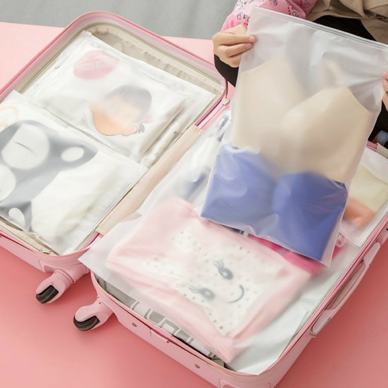 1PCS Multi-size Transparent Matte Plastic Storage Bag Travel Storage Finishing Bag Waterproof Bag Sliding Sealed Packaging Bag